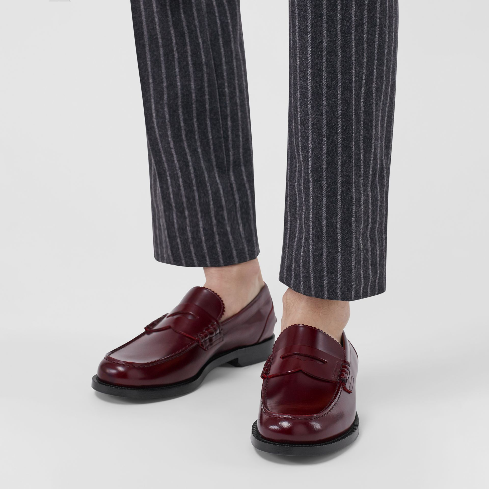 Leather Penny Loafers in Ebony Red - Men | Burberry Singapore - gallery image 2