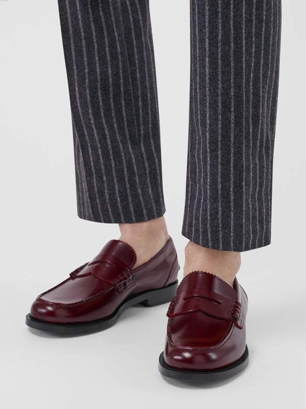 Leather Penny Loafers in Ebony Red - Men | Burberry United Kingdom - cell image 2