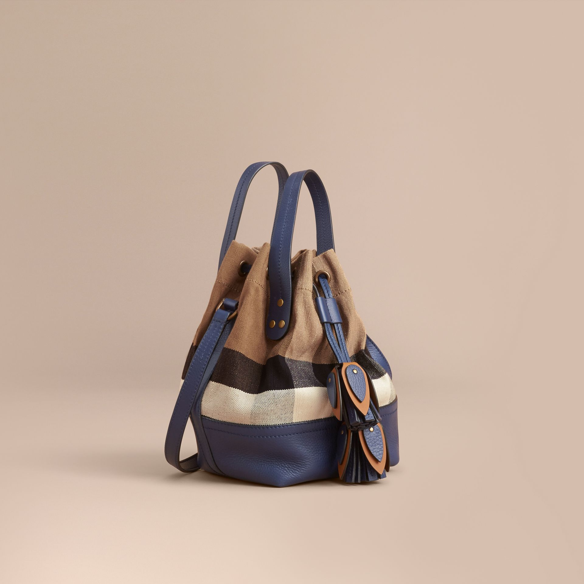 Small Canvas Check and Leather Bucket Bag in Brilliant Navy - Women | Burberry United States - gallery image 1