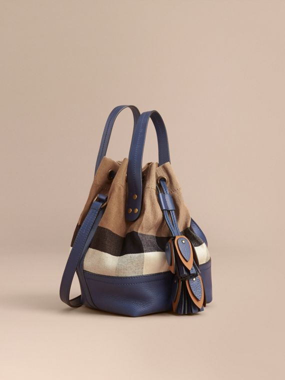 Small Canvas Check and Leather Bucket Bag in Brilliant Navy