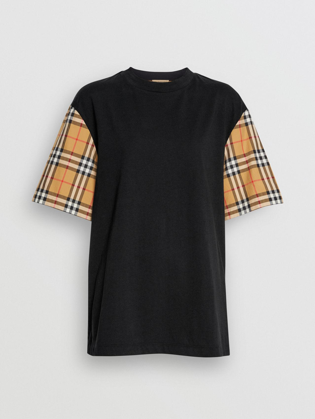 Vintage Check Sleeve Cotton T-shirt in Black