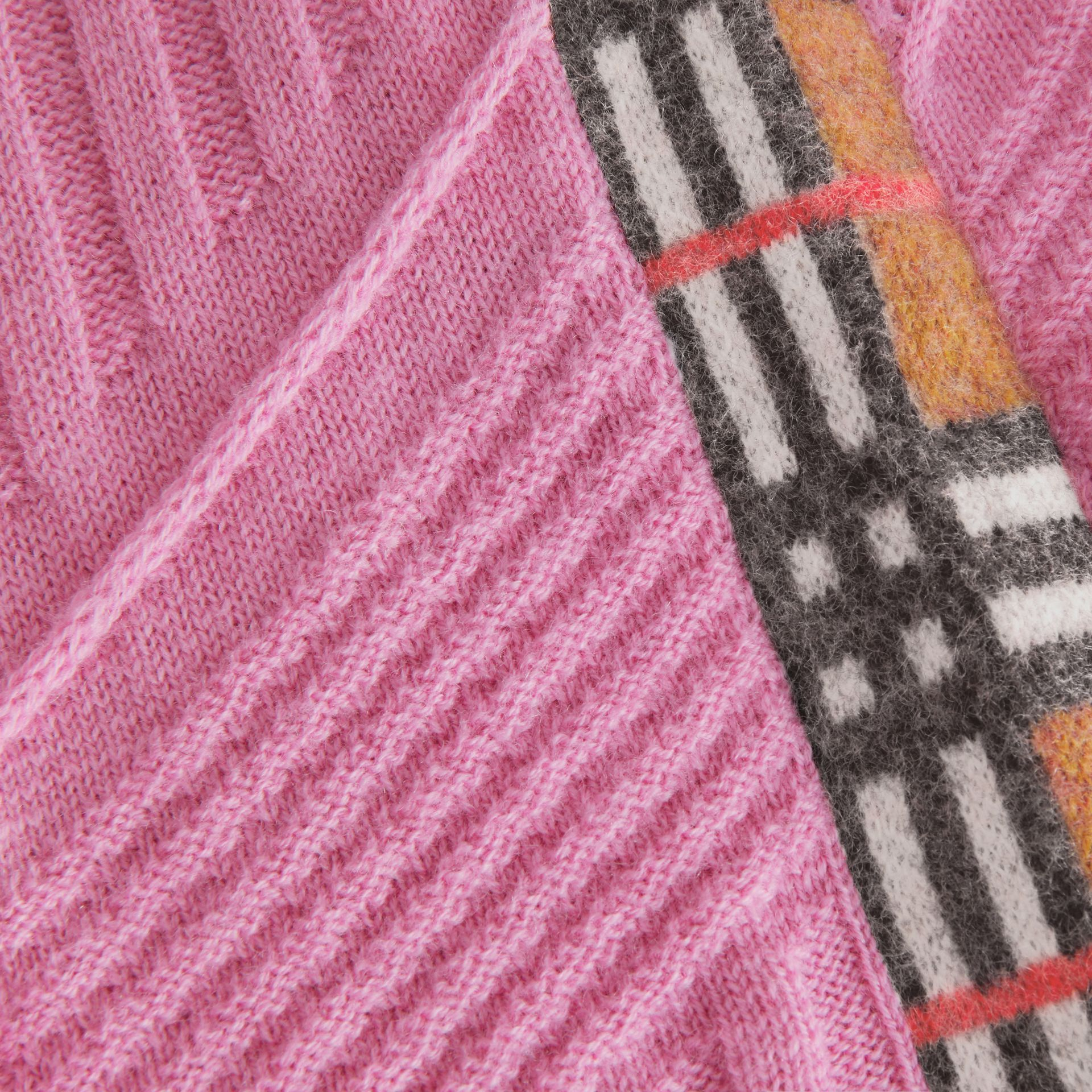 Check Detail Wool Cashmere Dress in Rose Pink - Children | Burberry - gallery image 1