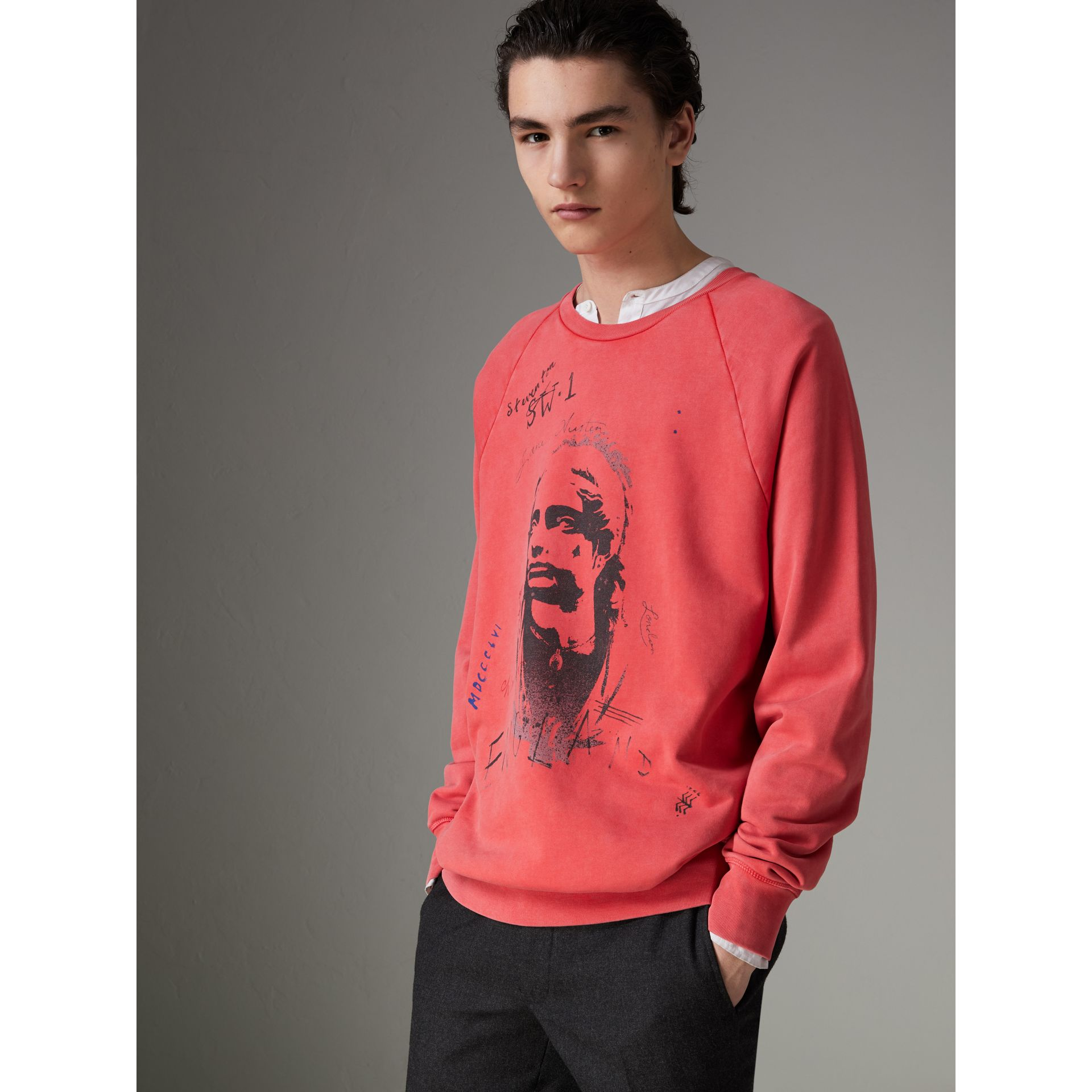 Portrait Print Cotton Sweatshirt in Bright Military Red - Men | Burberry - gallery image 0