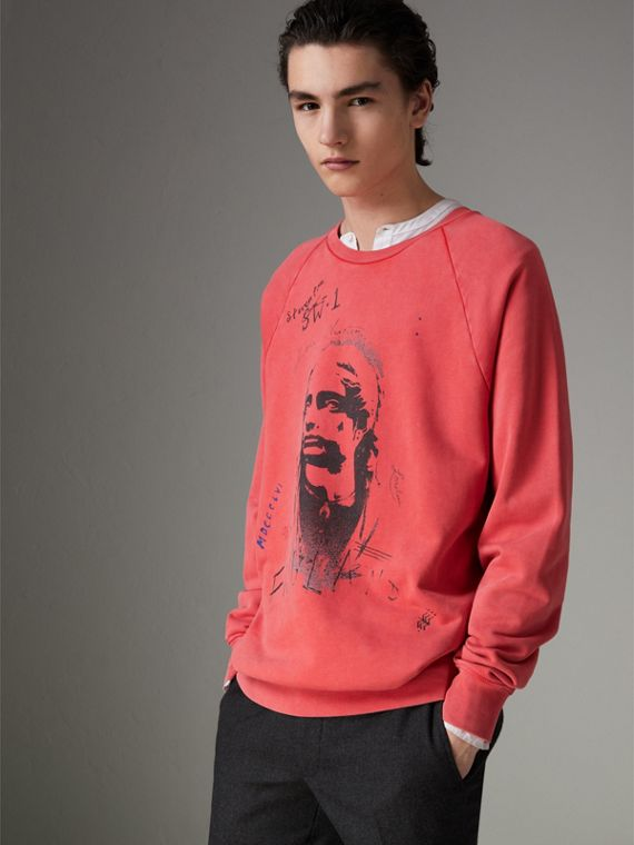 Portrait Print Cotton Sweatshirt in Bright Military Red