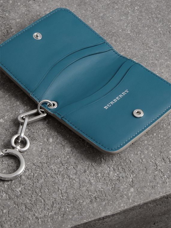 Link Detail Leather ID Card Case Charm in Stone | Burberry - cell image 3