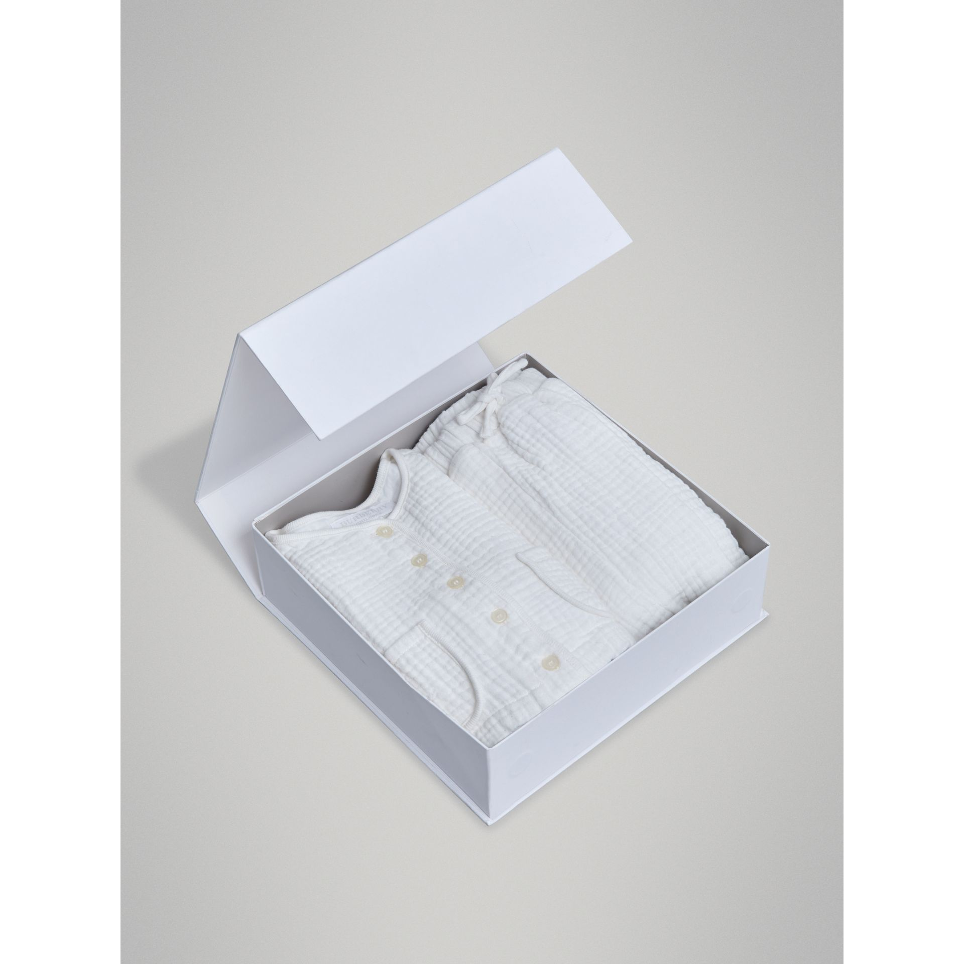 Cotton Two-piece Baby Gift Set in White | Burberry Singapore - gallery image 3