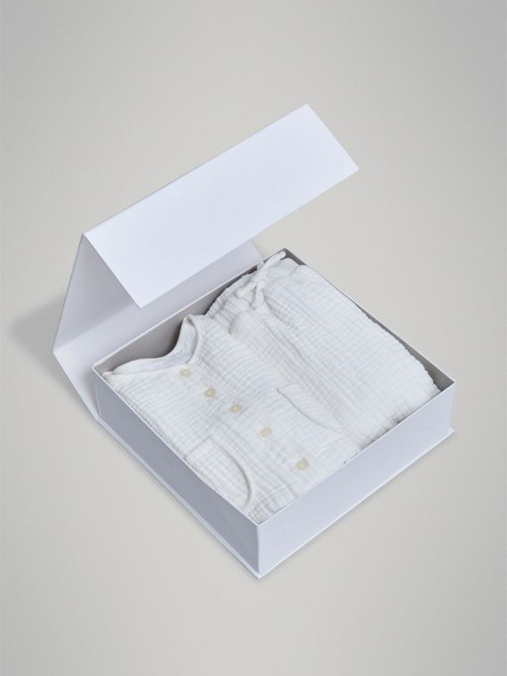 Cotton Two-piece Baby Gift Set in White | Burberry United Kingdom - cell image 3