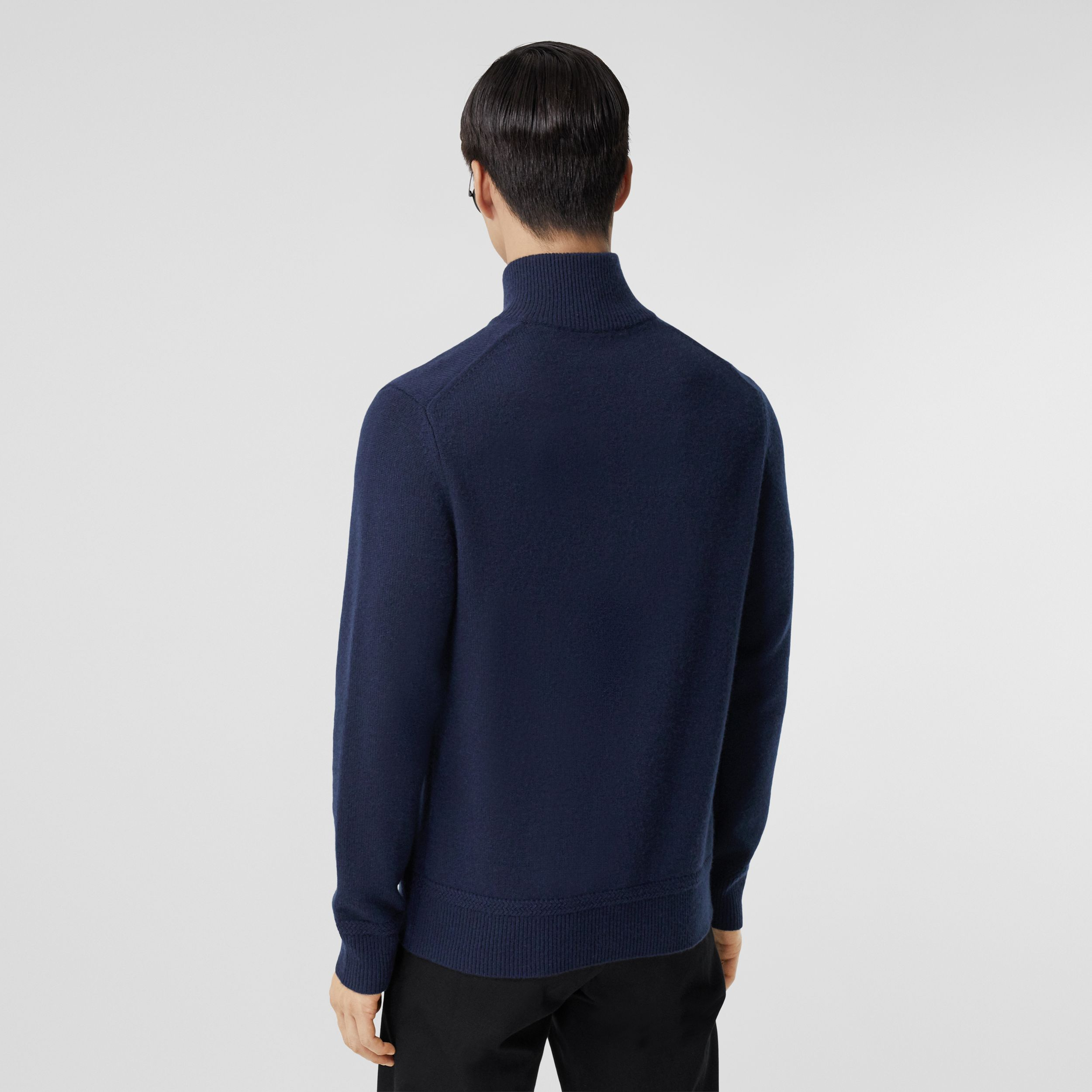 Monogram Motif Cashmere Funnel Neck Sweater in Navy - Men | Burberry - 3