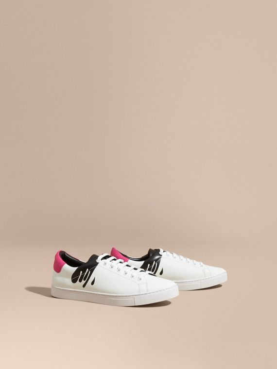 Splash Motif Leather Trainers Optic White/black