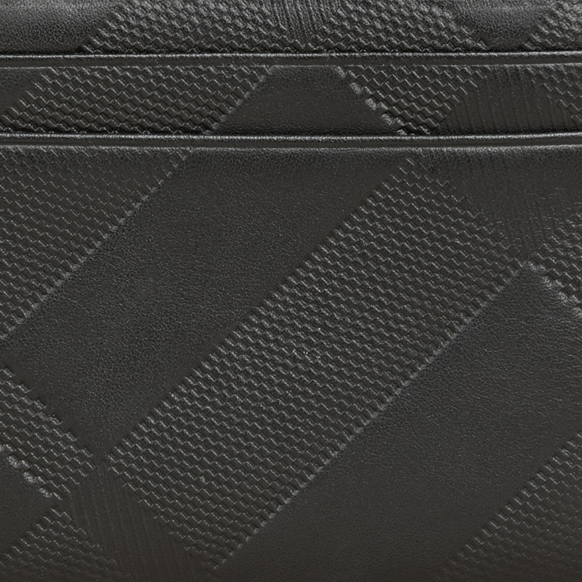 Black Embossed Check Leather Folding Wallet Black - gallery image 2