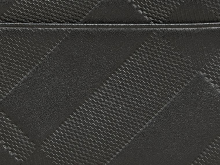 Black Embossed Check Leather Folding Wallet Black - cell image 1