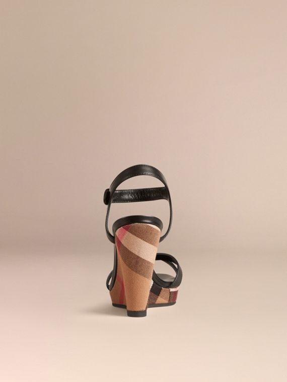 House Check and Leather Wedge Sandals in Black - Women | Burberry - cell image 2