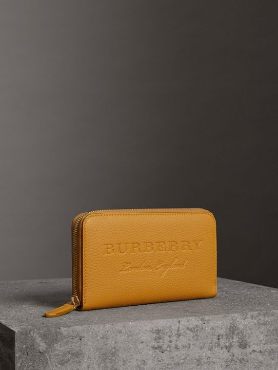 Embossed Leather Ziparound Wallet in Ochre Yellow