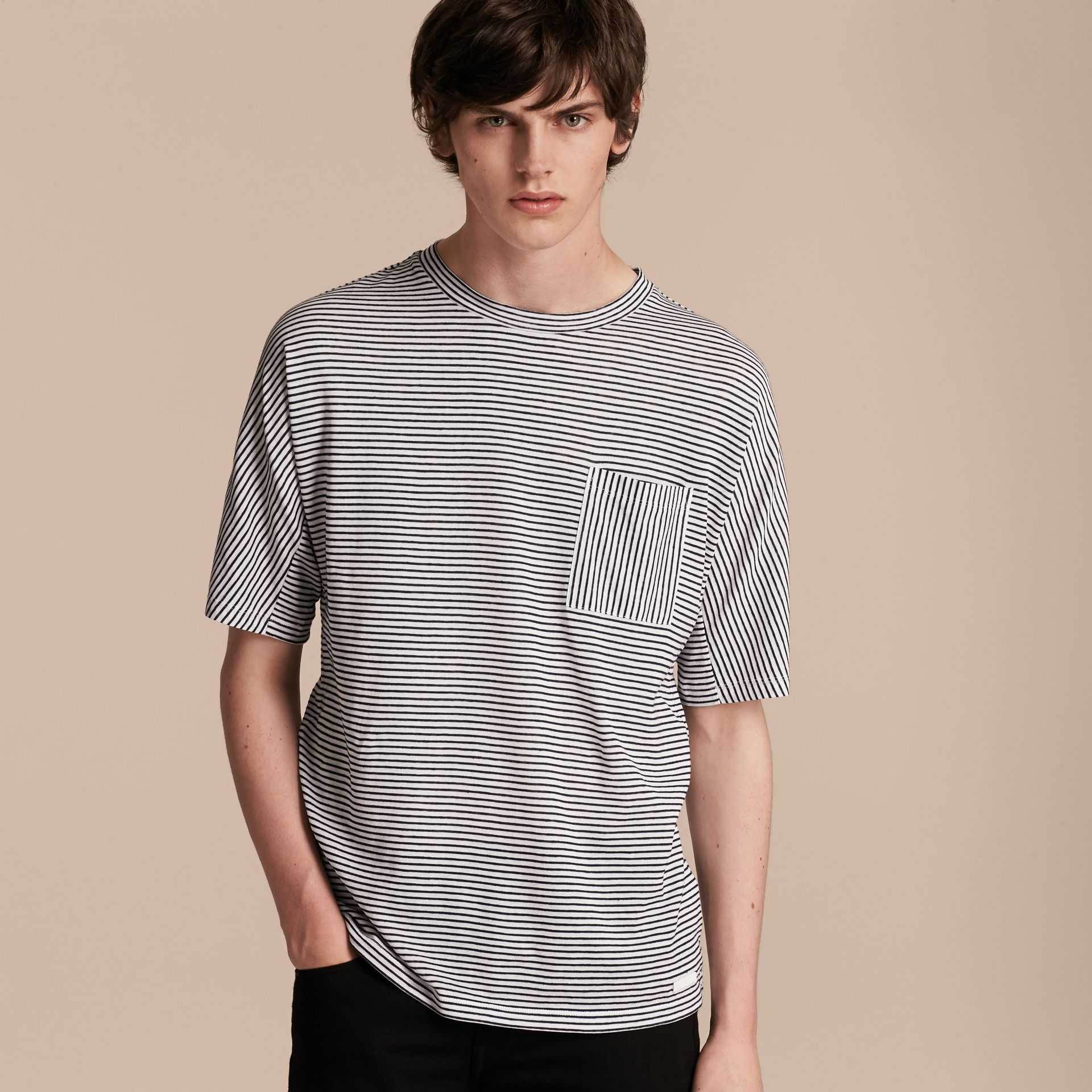 Striped Cotton Linen T-shirt - gallery image 6