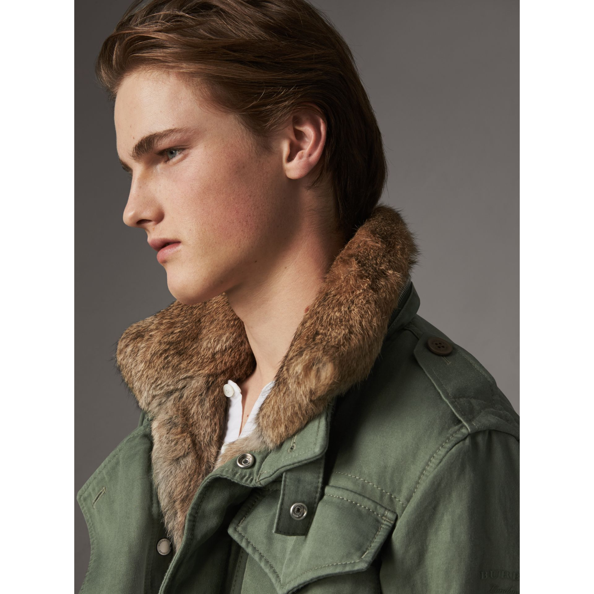 Packaway Hood Cotton Field Jacket with Fur Warmer in Slate Green - Men | Burberry United Kingdom - gallery image 1