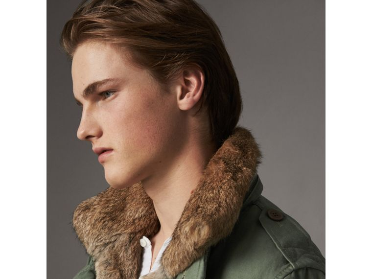 Packaway Hood Cotton Field Jacket with Fur Warmer in Slate Green - Men | Burberry - cell image 1