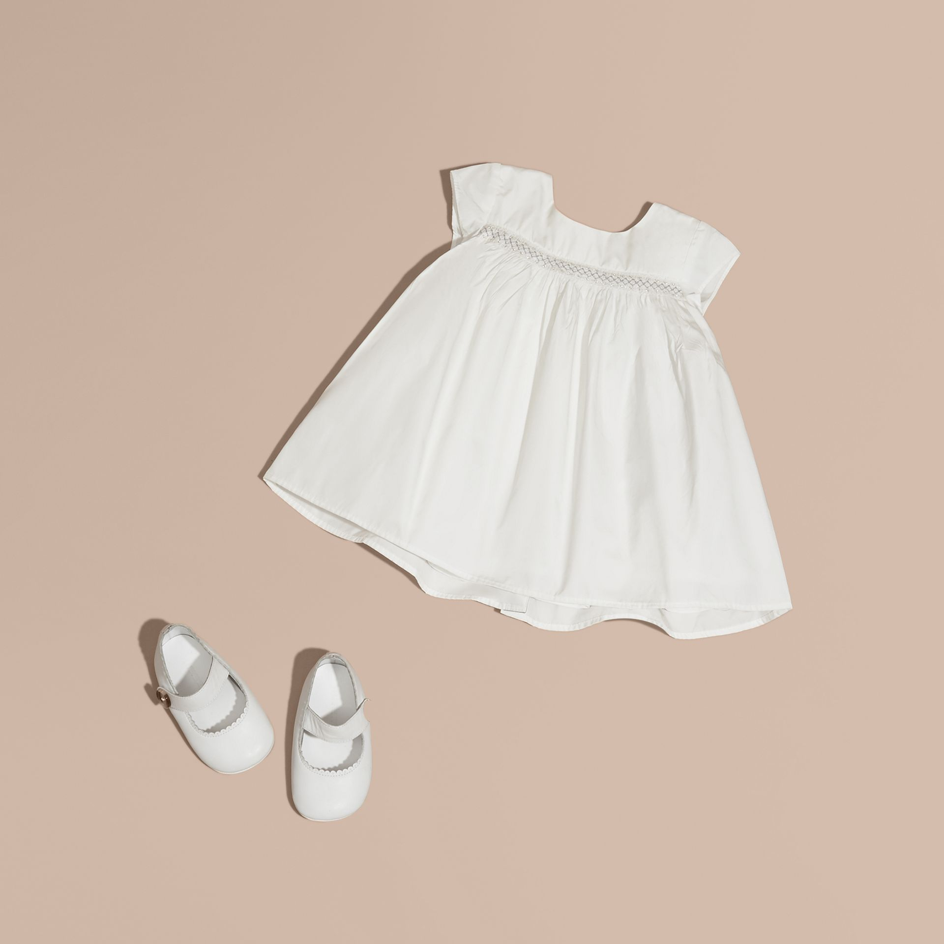 White Embroidered Taffeta Dress with Bloomers - gallery image 1