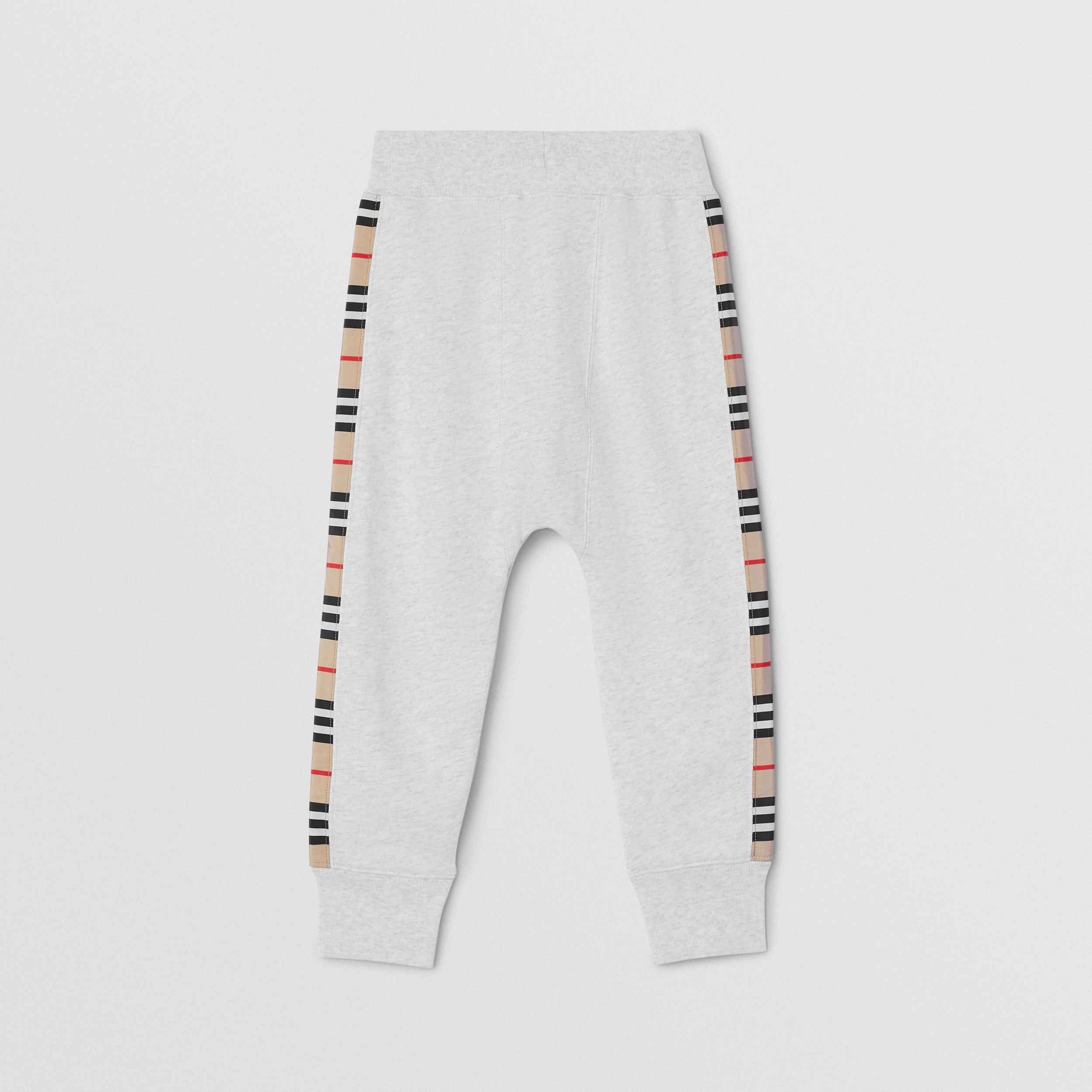 Icon Stripe Panel Cotton Jogging Pants in White Melange | Burberry - 3