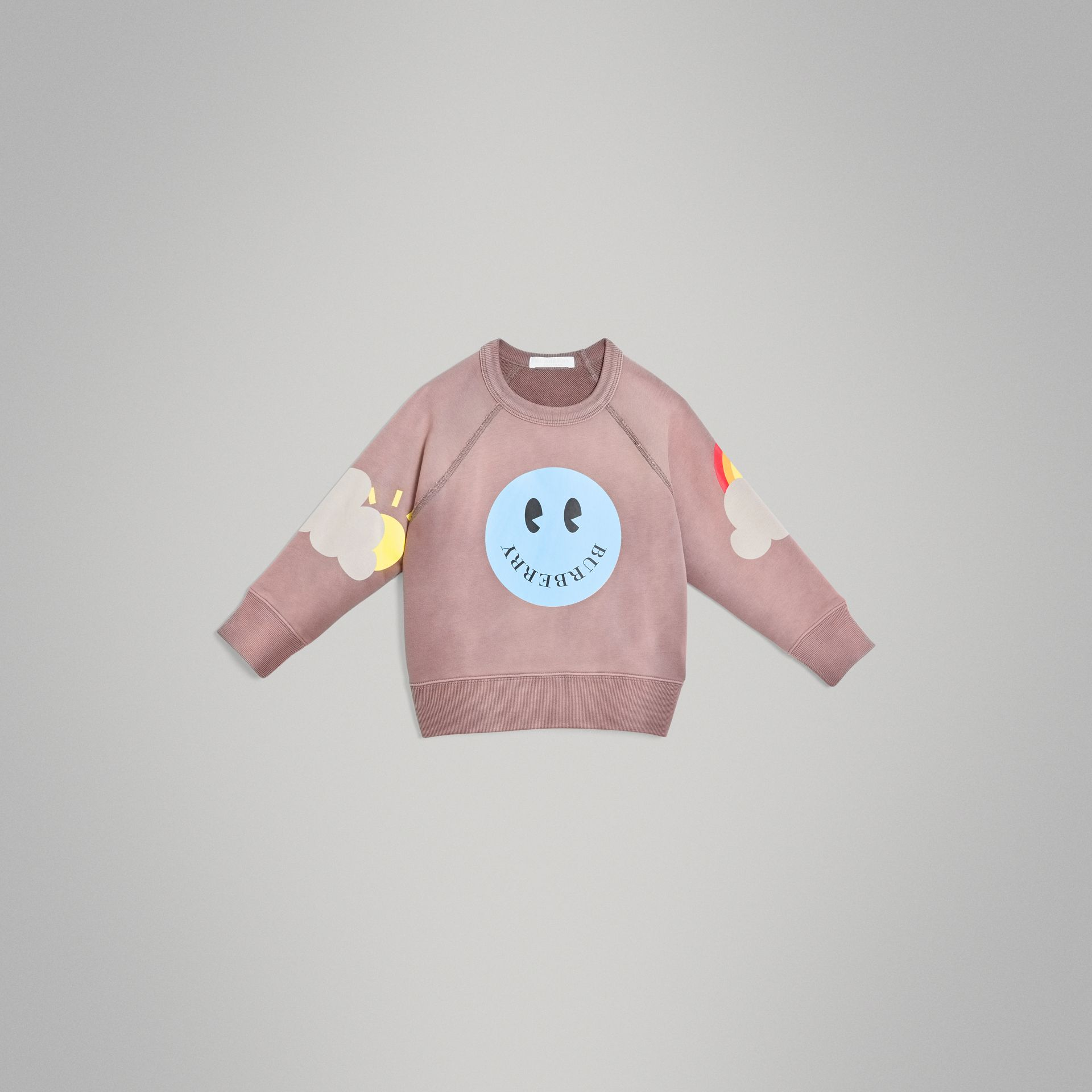 Smiley Face Print Cotton Sweatshirt in Mauve | Burberry - gallery image 0