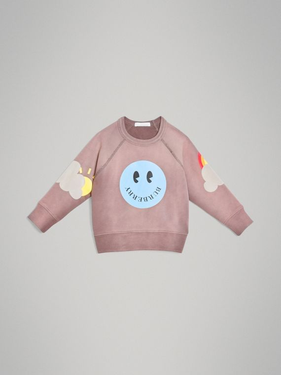 Sweat-shirt en coton avec imprimé smiley (Mauve)
