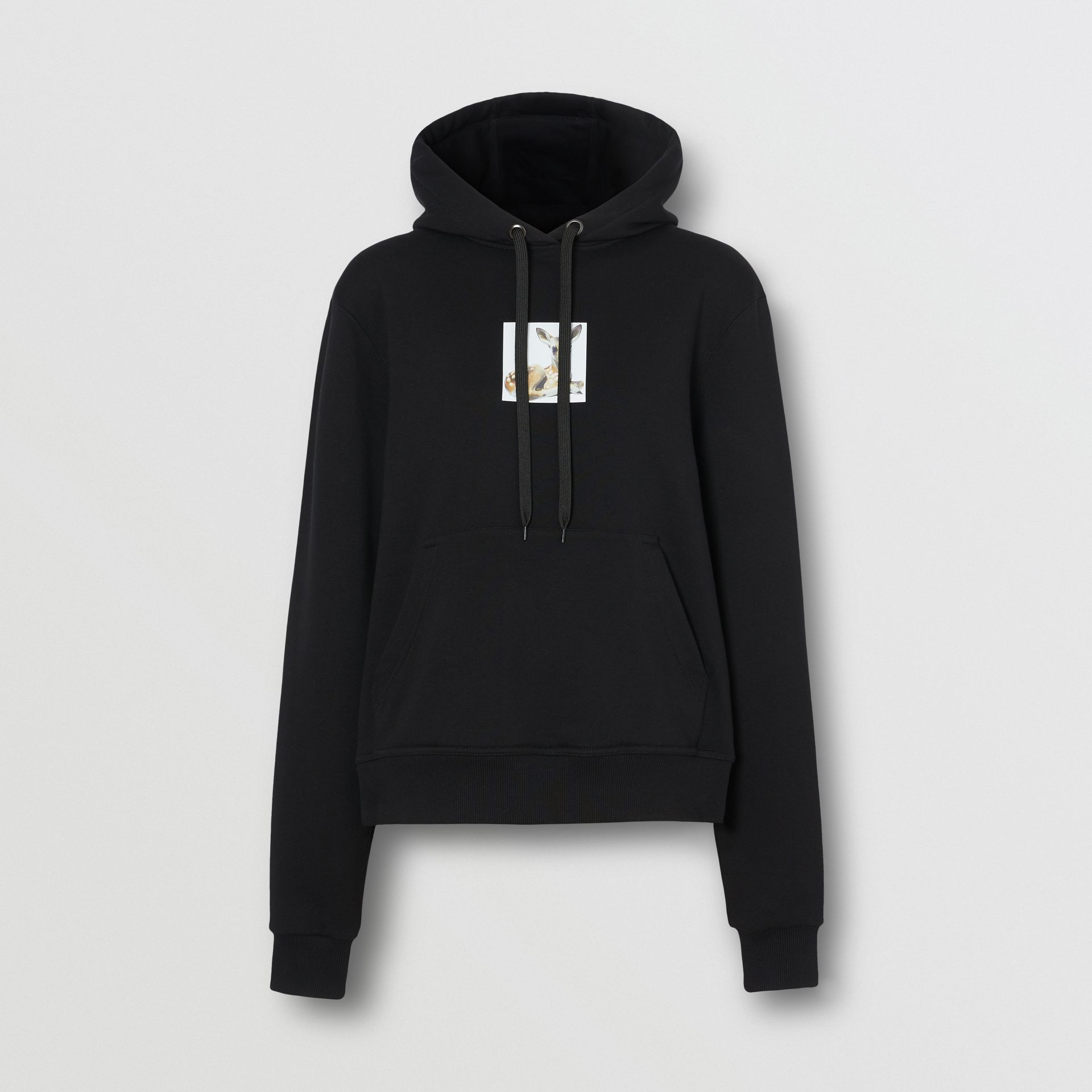 Deer Print Cotton Oversized Hoodie in Black - Women | Burberry - gallery image 3