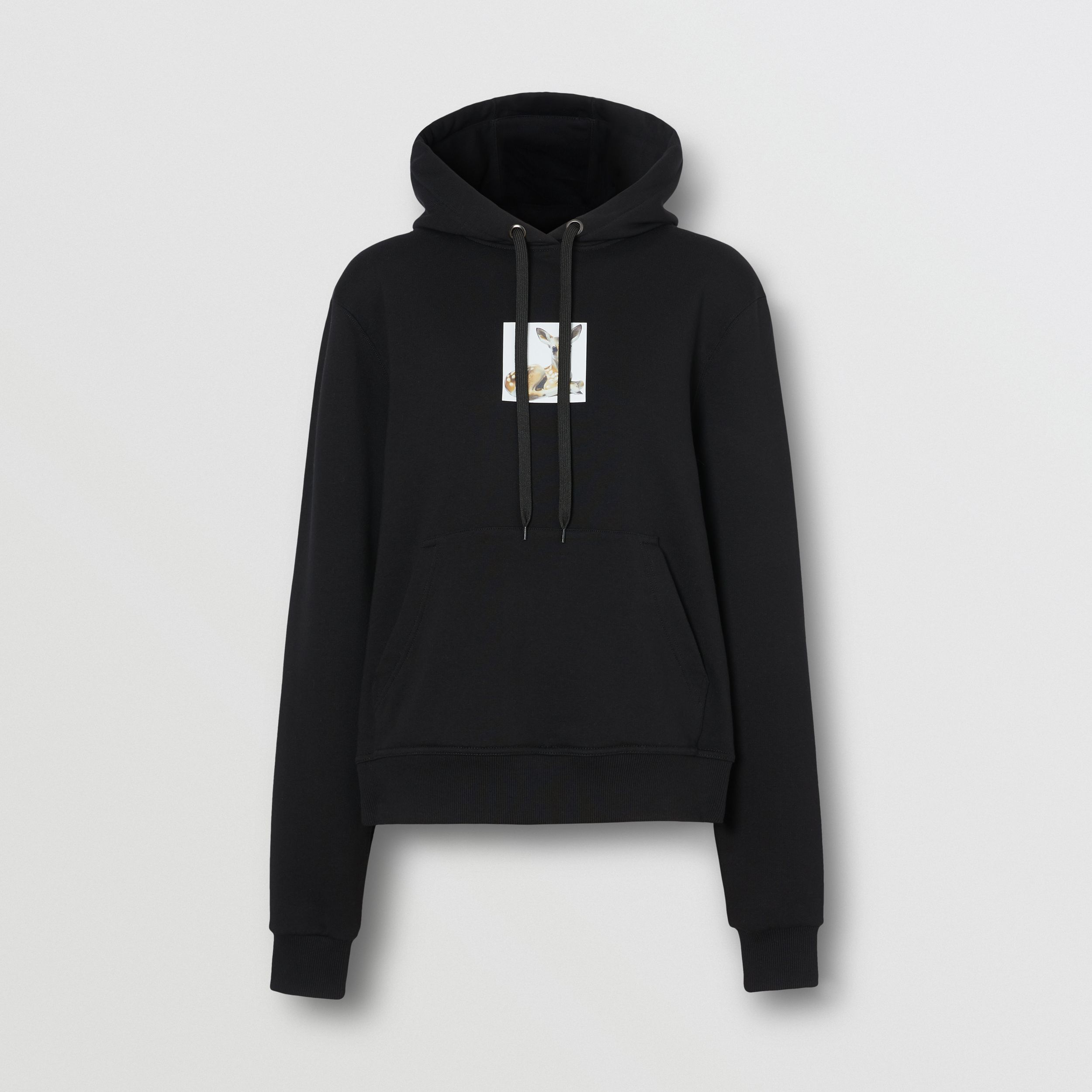 Deer Print Cotton Oversized Hoodie in Black - Women | Burberry Canada - 4