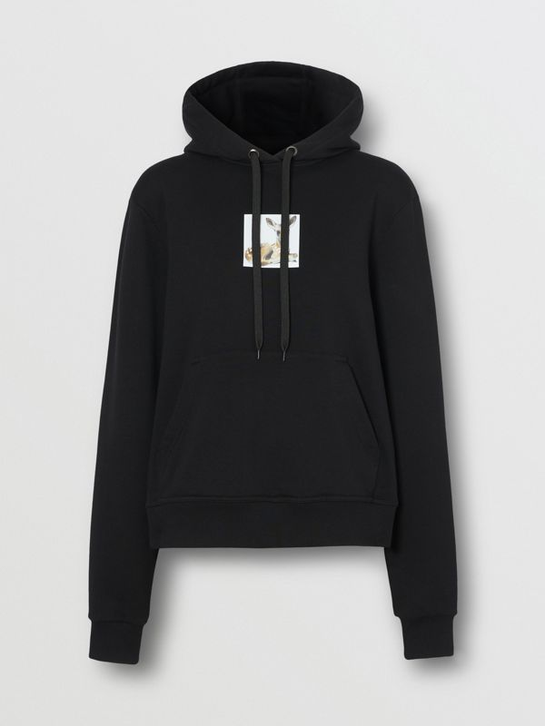 Deer Print Cotton Oversized Hoodie in Black - Women | Burberry - cell image 3