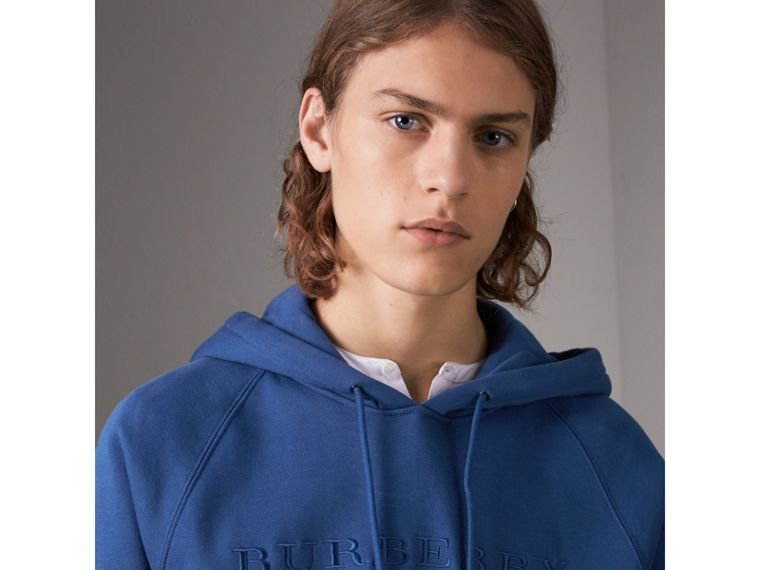 Embroidered Hooded Sweatshirt in Bright Blue - Men | Burberry United Kingdom - cell image 1
