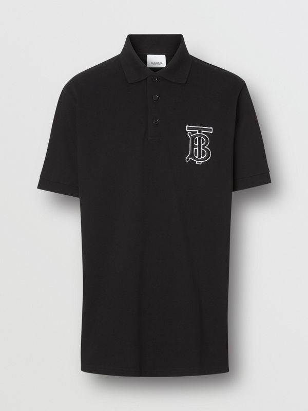 Monogram Motif Cotton Piqué Oversized Polo Shirt in Black | Burberry United States - cell image 3