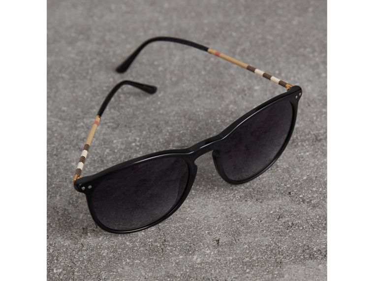 Check Detail Round Frame Sunglasses in Black - Men | Burberry Canada - cell image 2