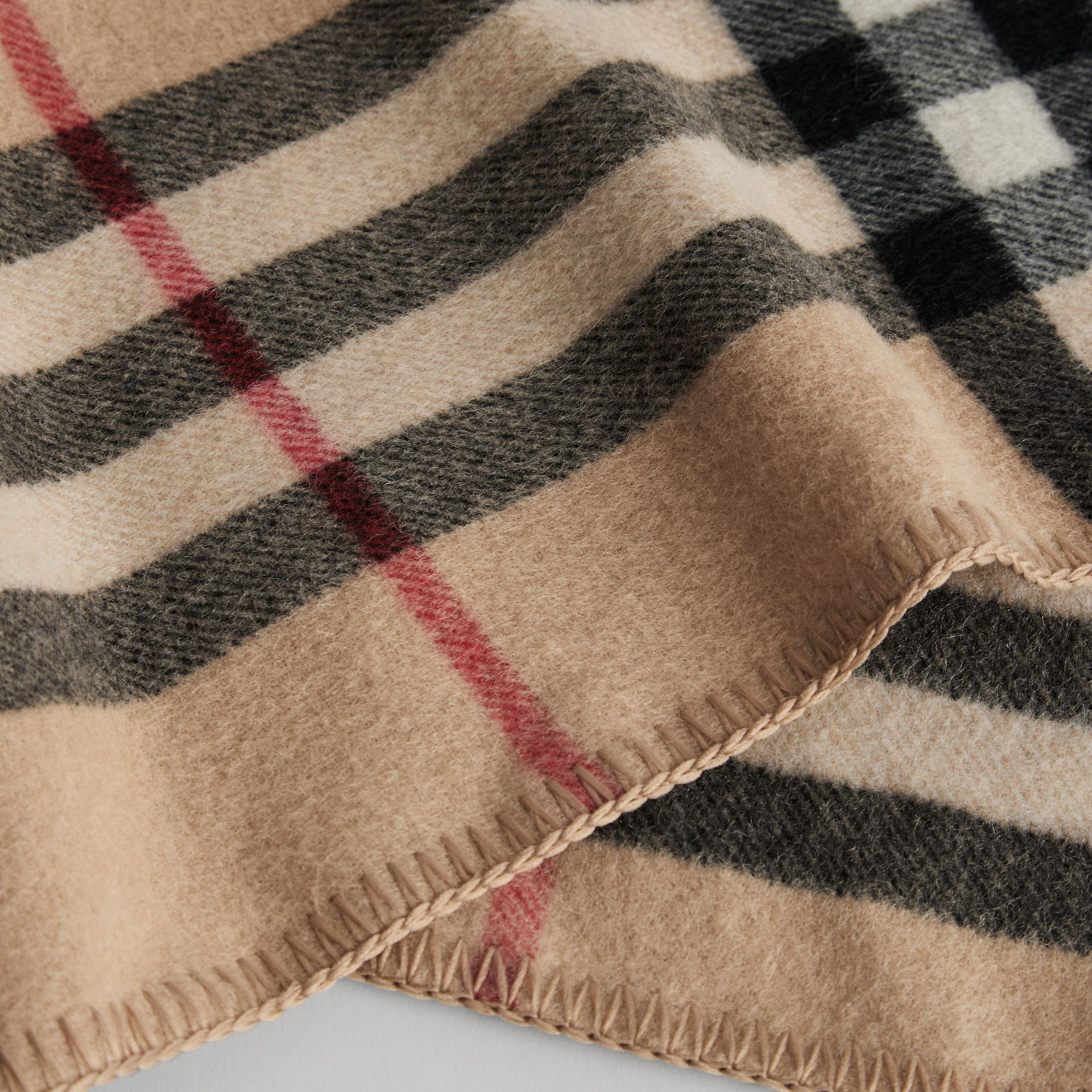 Check Wool Cashmere Hooded Poncho in New Classic | Burberry - gallery image 1