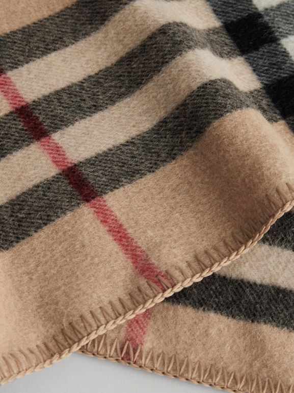 Check Wool Cashmere Hooded Poncho in New Classic | Burberry - cell image 1