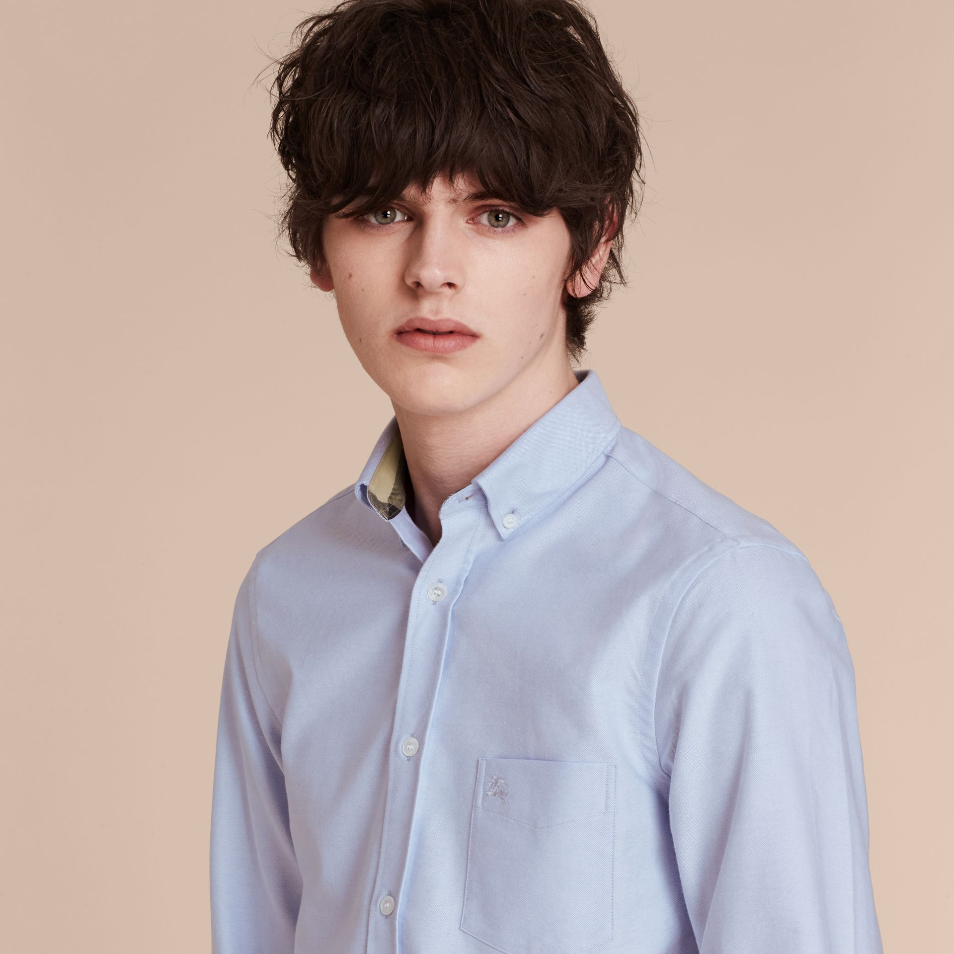 Check Detail Cotton Oxford Shirt Cornflower Blue - gallery image 5