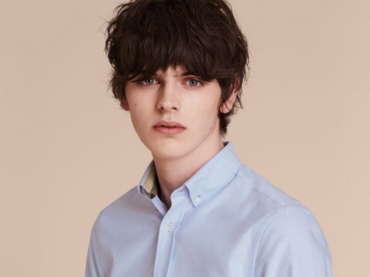 Check Detail Cotton Oxford Shirt in Cornflower Blue - Men | Burberry Singapore - cell image 4