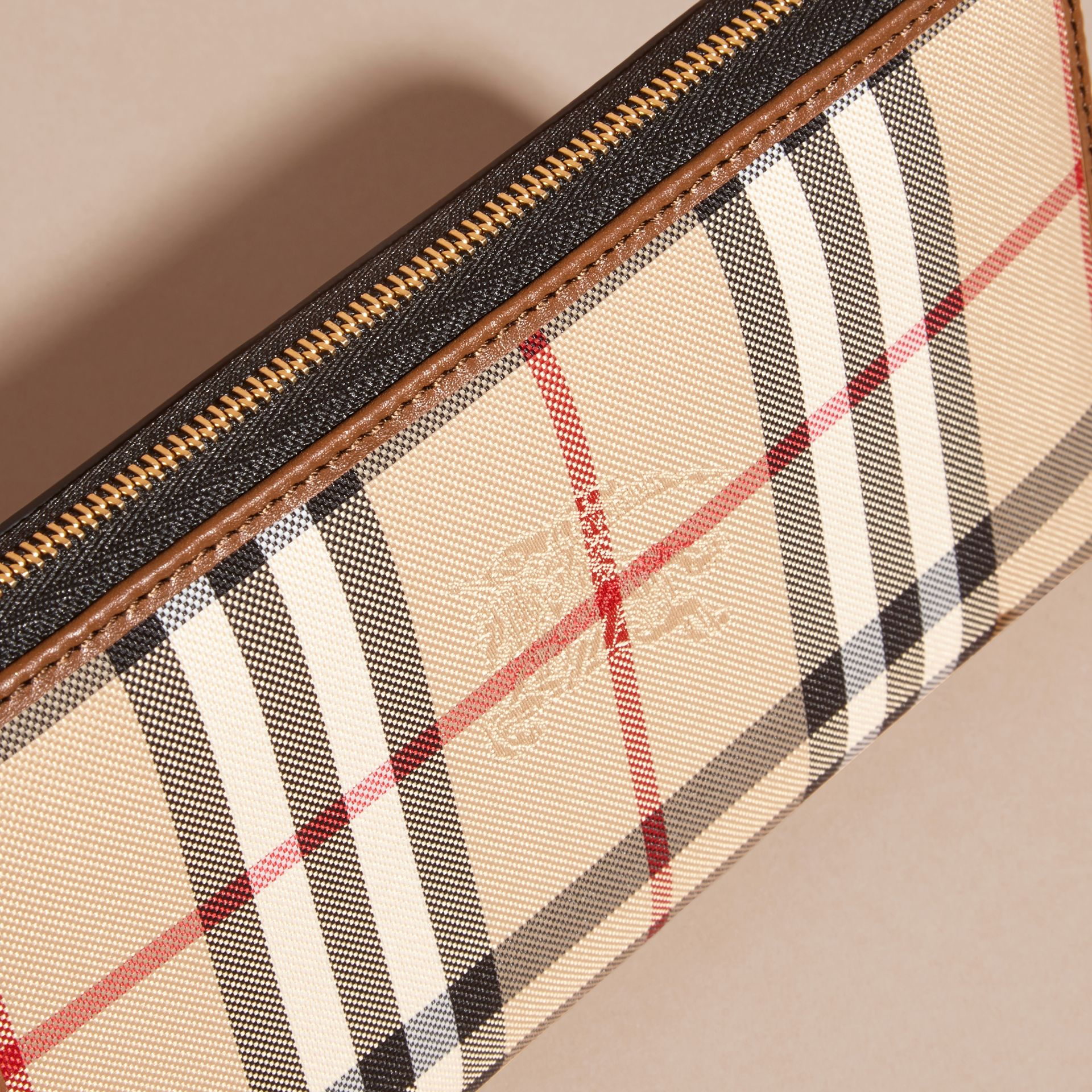 Horseferry Check and Leather Ziparound Wallet Tan - gallery image 2