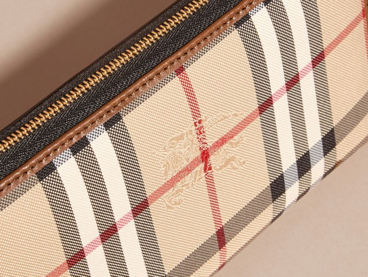 Horseferry Check and Leather Ziparound Wallet in Tan - cell image 1