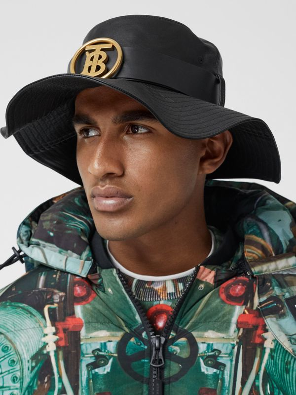 Monogram Motif Belt Detail Lambskin Desert Hat in Black | Burberry - cell image 2