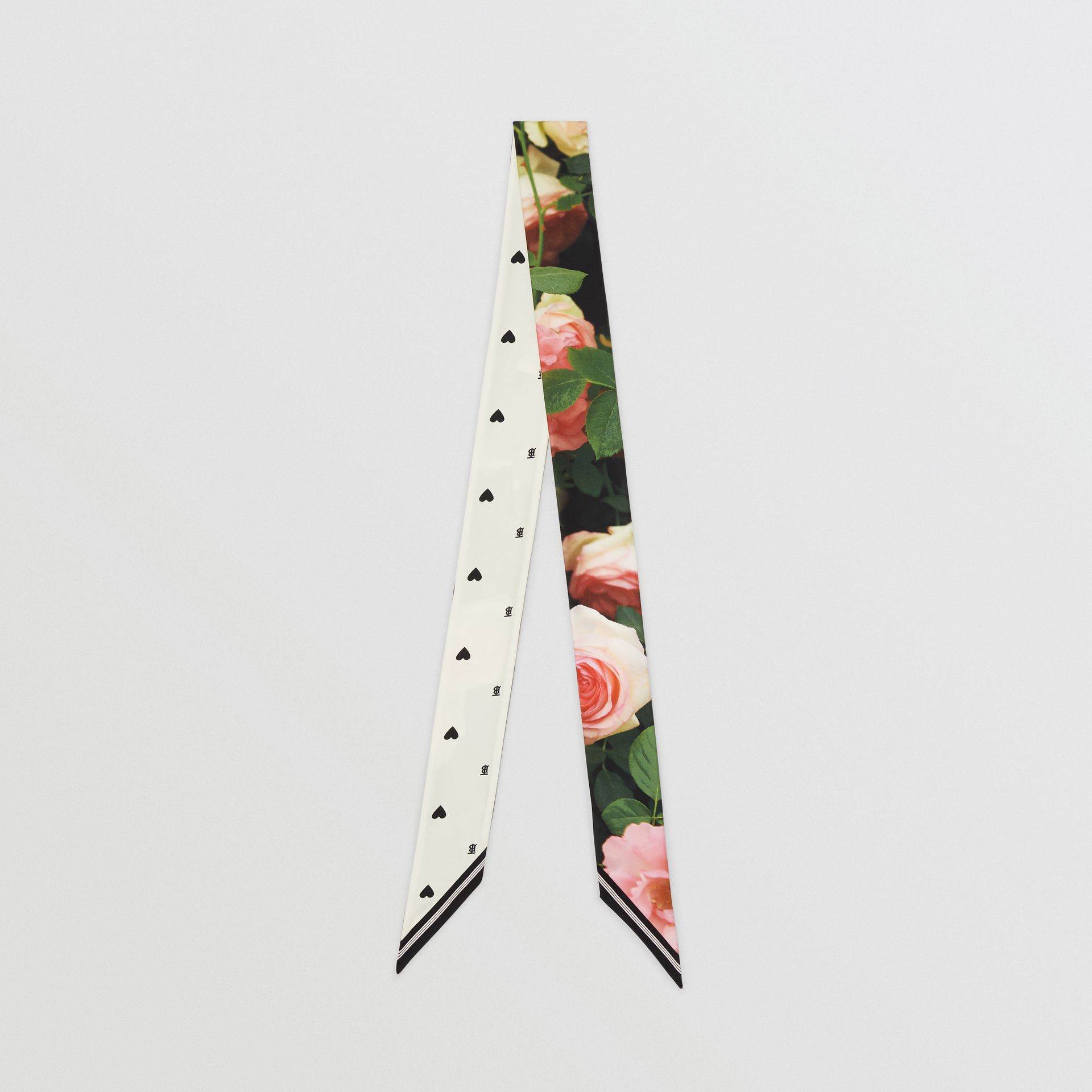 Floral Print Silk Skinny Scarf in Rose Pink | Burberry United States - gallery image 0