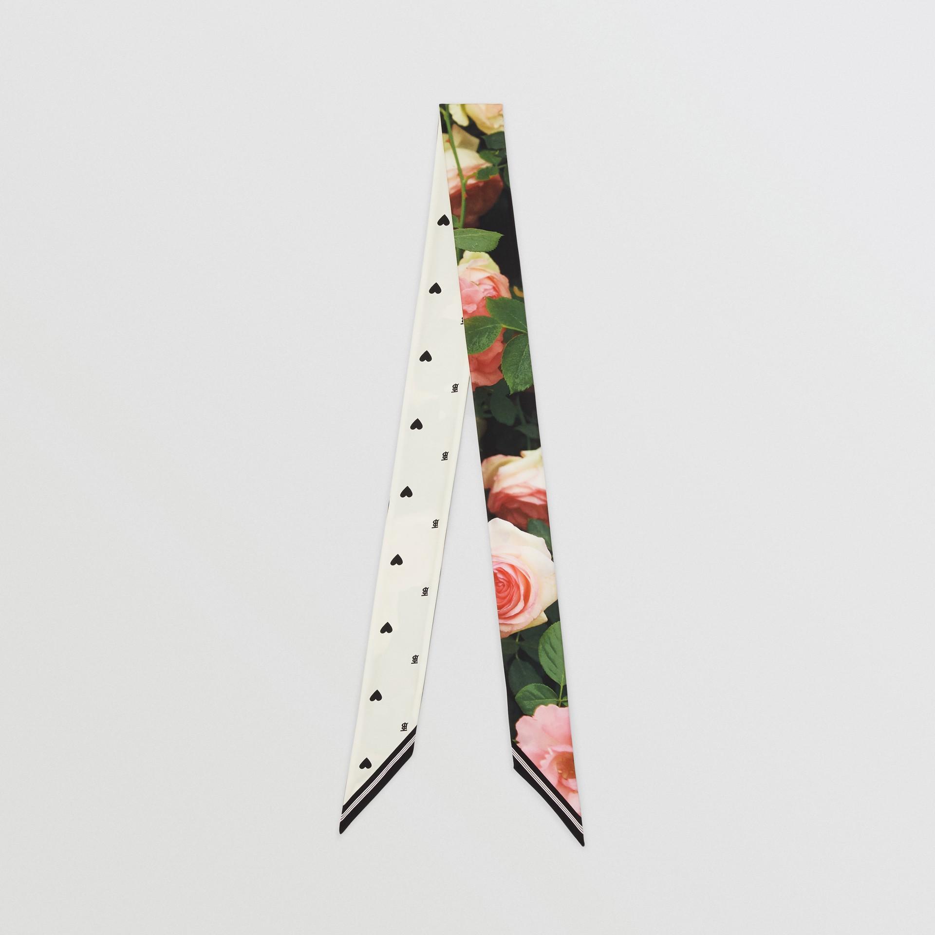 Floral Print Silk Skinny Scarf in Rose Pink | Burberry - gallery image 0