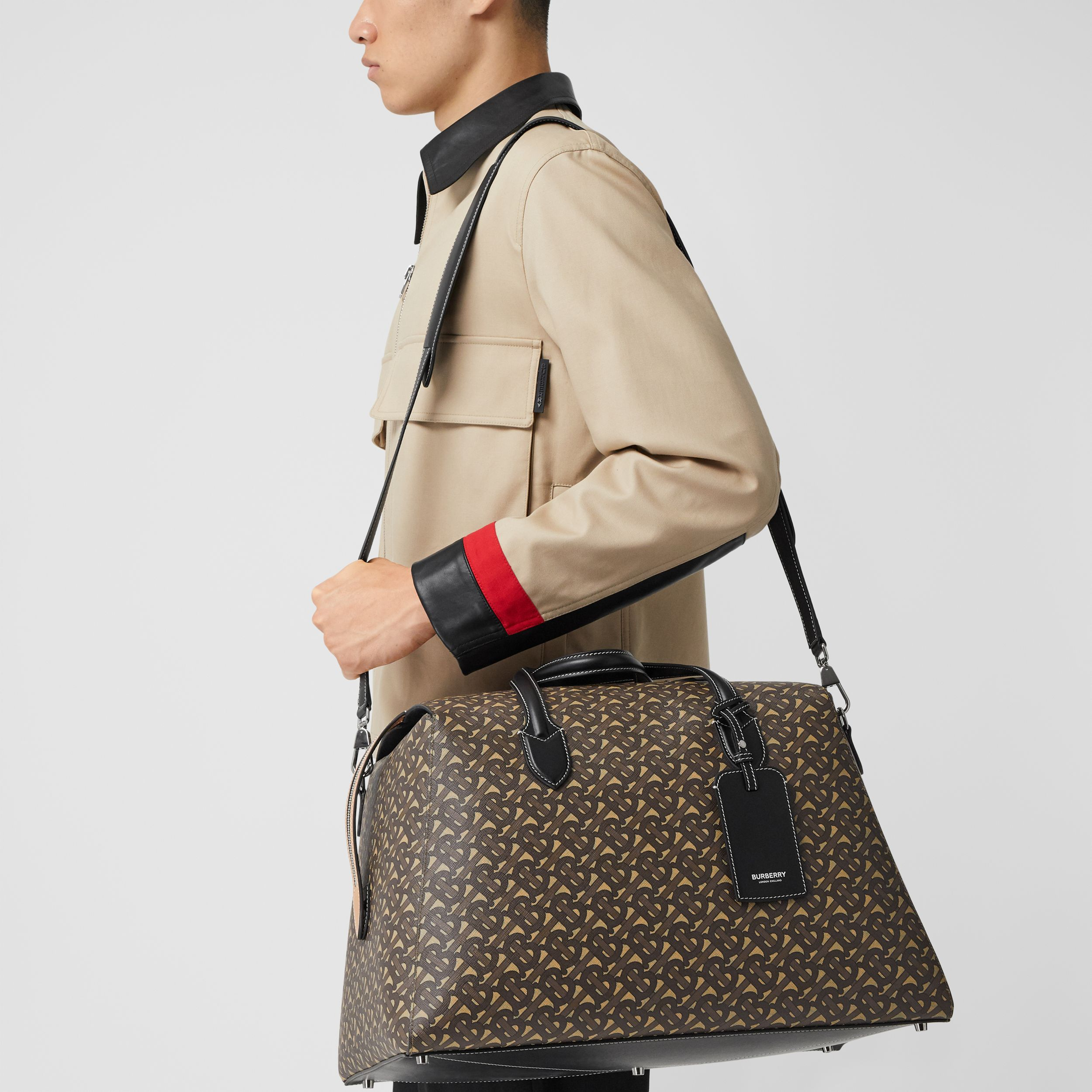 Monogram Print E-canvas Holdall in Bridle Brown - Men | Burberry - 4