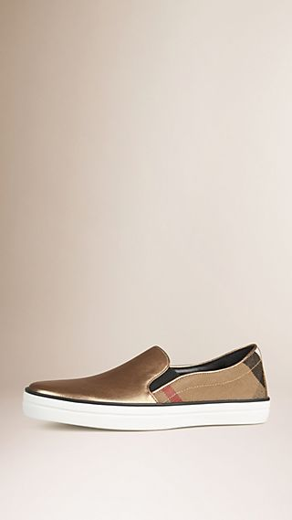 Check and Leather Slip-on Trainers
