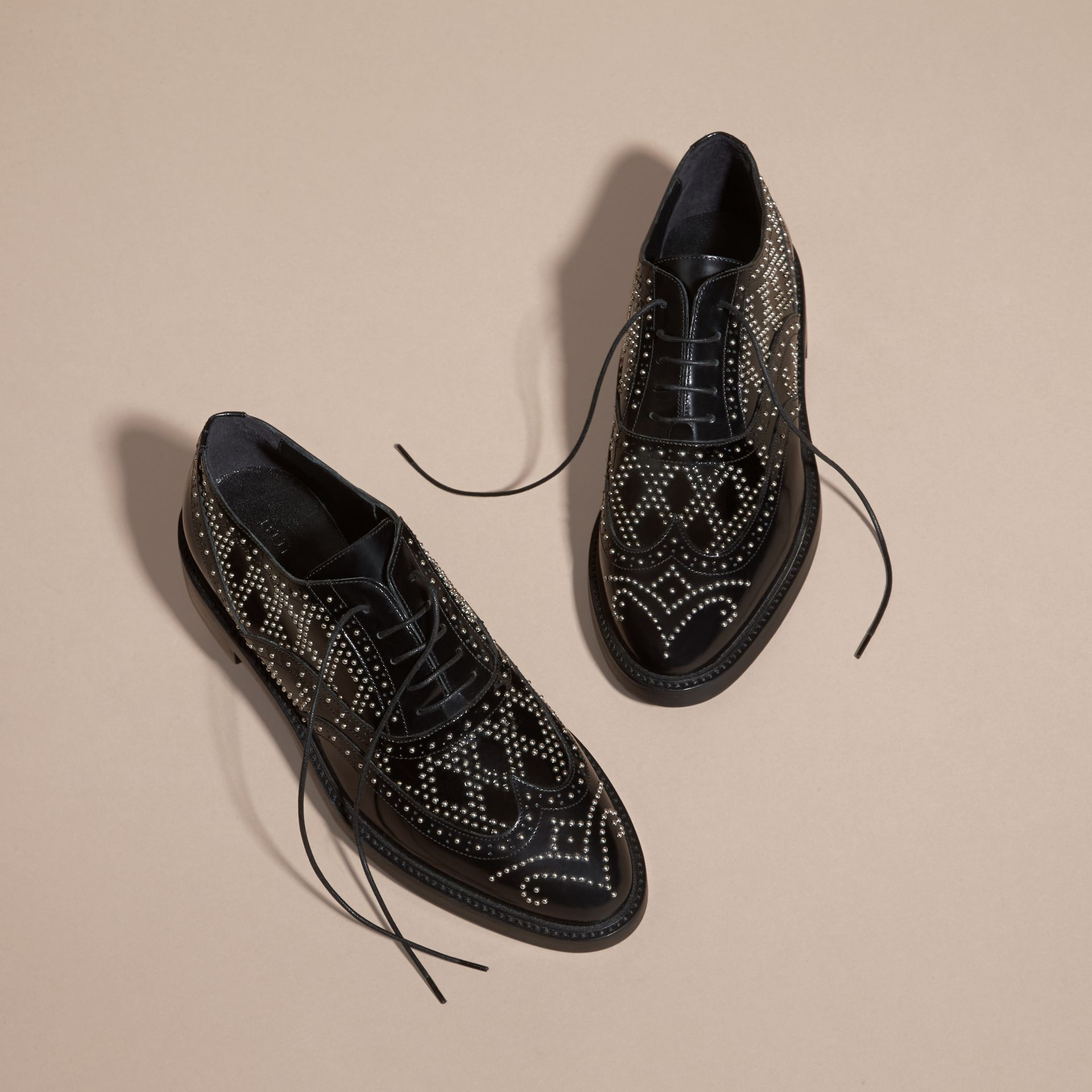Black Studded Leather Wingtip Brogues - gallery image 3