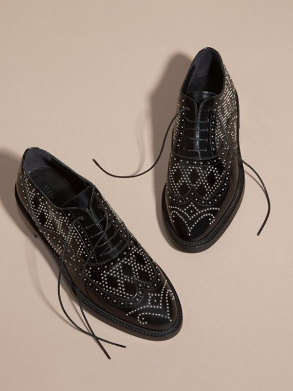 Black Studded Leather Wingtip Brogues - cell image 2