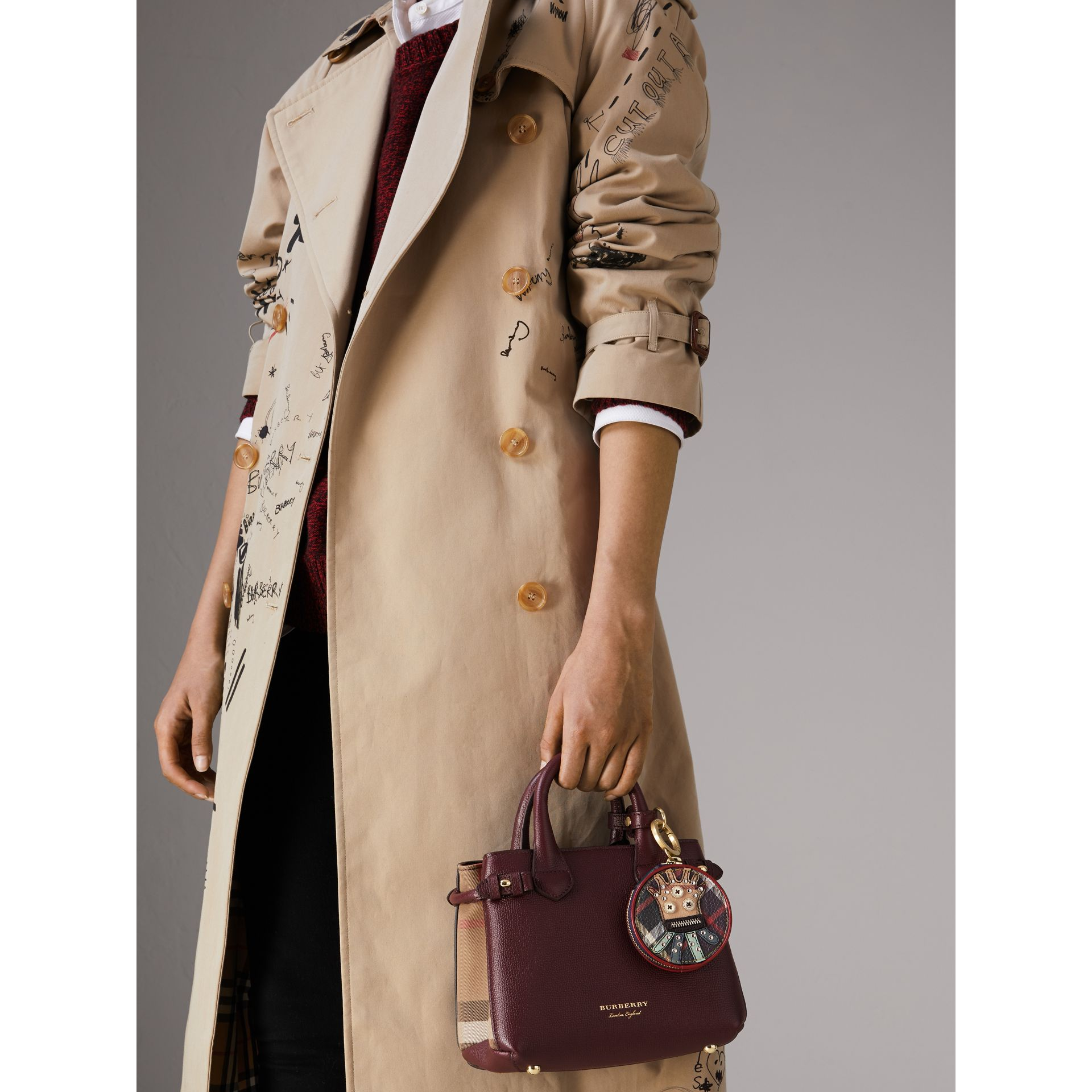 The Baby Banner in Leather and House Check in Mahogany Red - Women | Burberry Singapore - gallery image 3