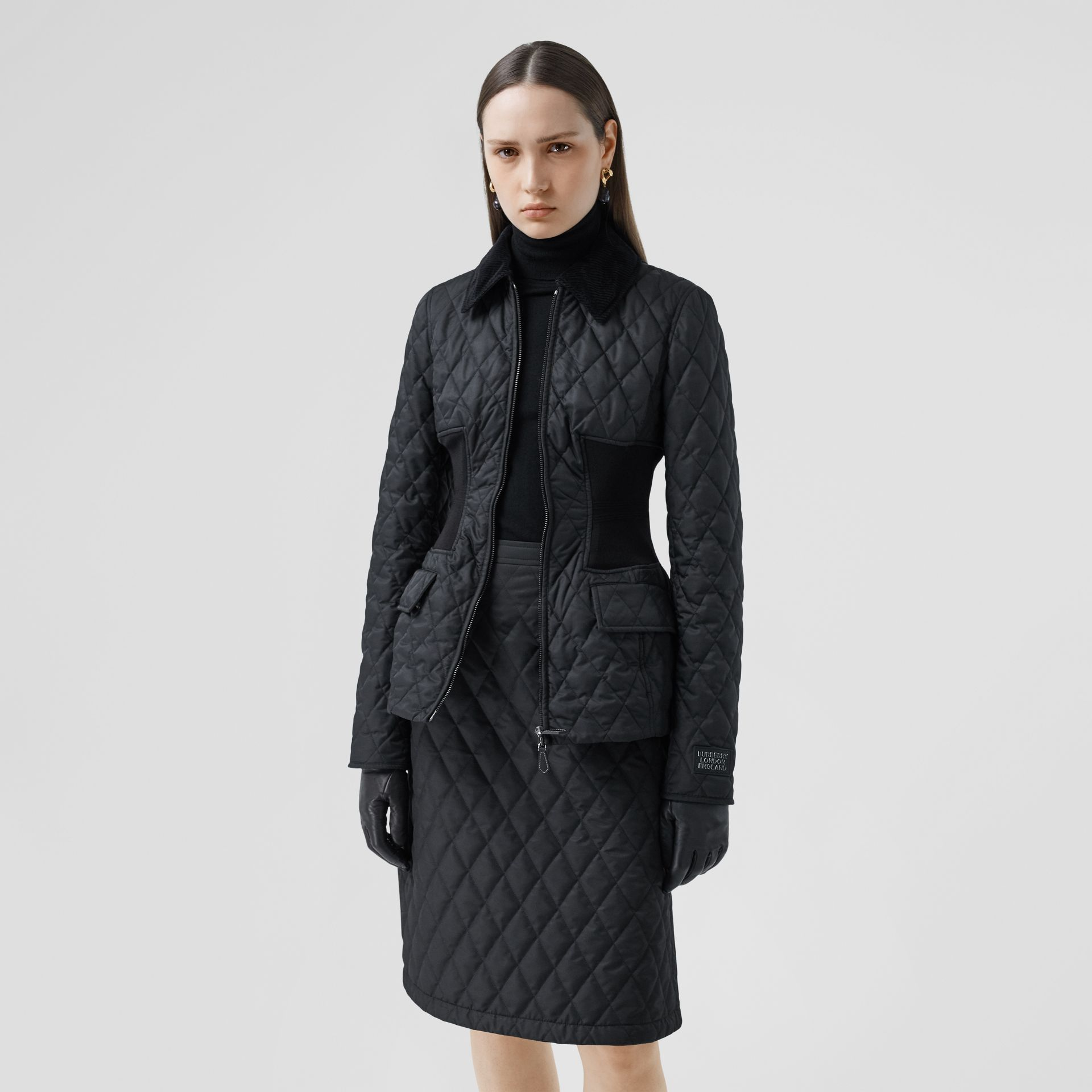 Rib Knit Panel Diamond Quilted Barn Jacket in Black - Women | Burberry United Kingdom - gallery image 6