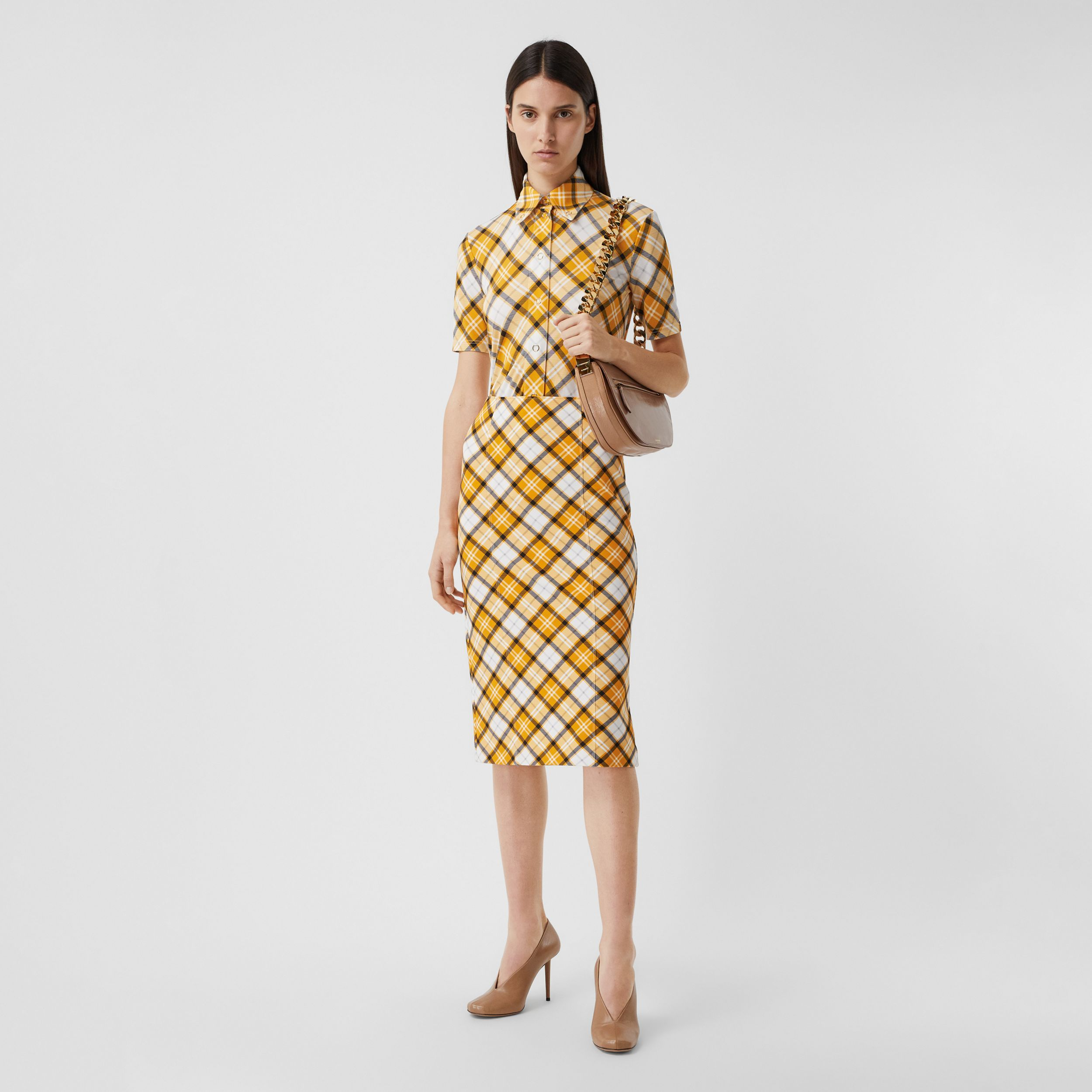 Short-sleeve Check Jersey Shirt in Citrus Orange - Women | Burberry - 1