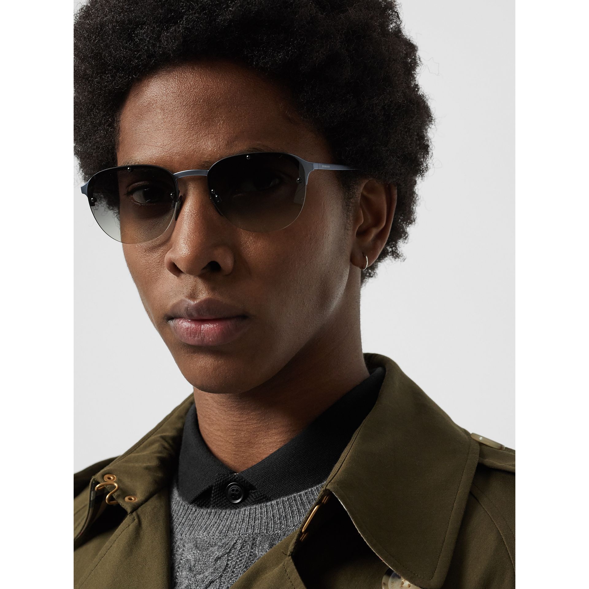 Round Frame Sunglasses in Grey - Men | Burberry United States - gallery image 2