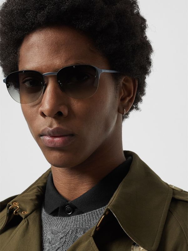 Round Frame Sunglasses in Grey - Men | Burberry Australia - cell image 2
