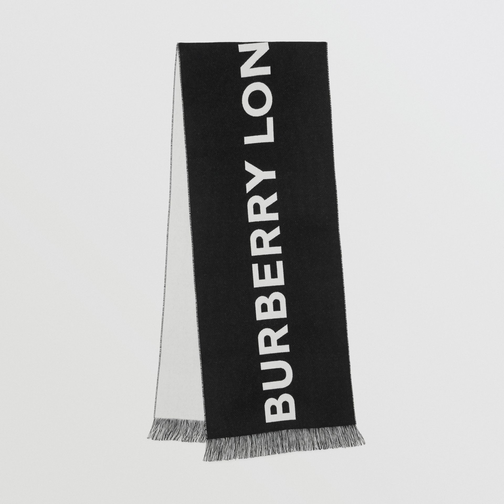 Logo Wool Scarf in Black/white | Burberry Canada - gallery image 0