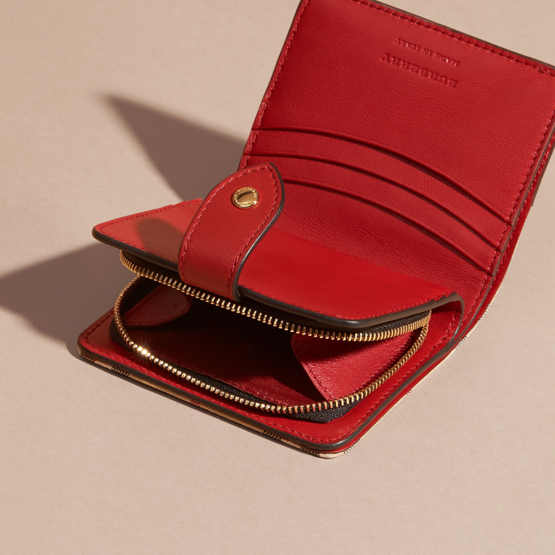 Horseferry Check and Leather Wallet Parade Red - gallery image 5